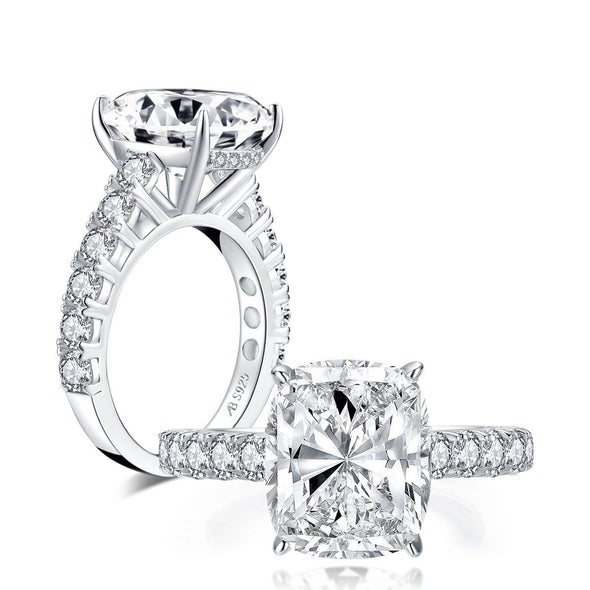 Classic Engagement Ring US4 Luxury 5ct Cushion Created Diamond Ring