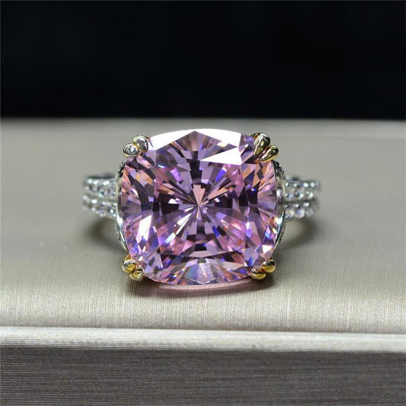 Classic Engagement Ring Cushion Cut Created Sapphire Ring