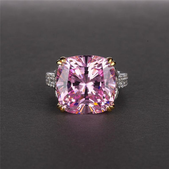 Classic Engagement Ring Pink / US4 Cushion Cut Created Sapphire Ring
