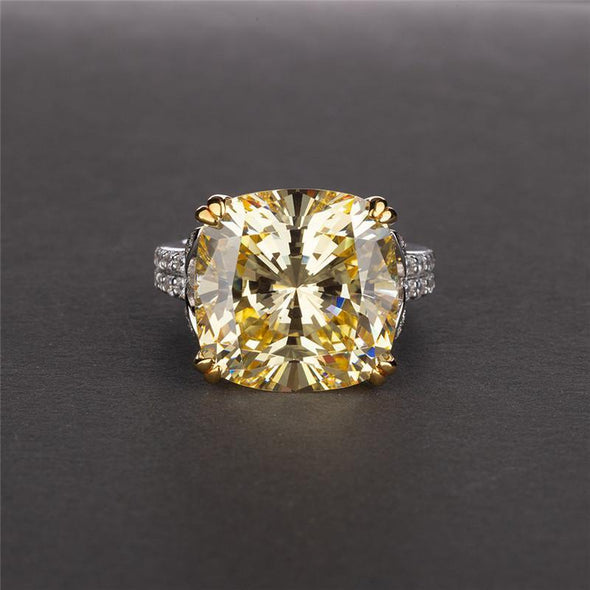 Classic Engagement Ring Yellow / US4 Cushion Cut Created Sapphire Ring