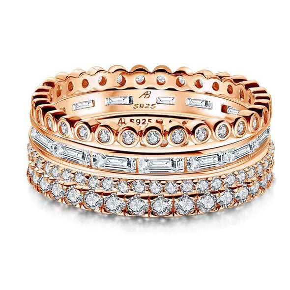 Multi Wedding Band Rose Gold / US5 4PCS Full Eternity Stackable Ring Sets