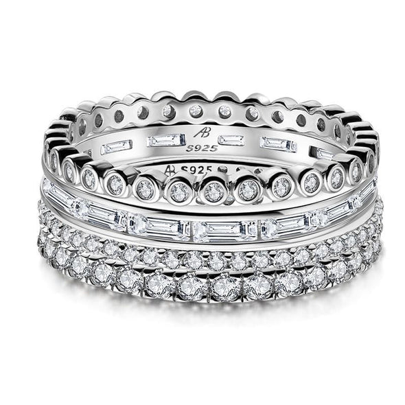 Multi Wedding Band White Gold / US5 4PCS Full Eternity Stackable Ring Sets