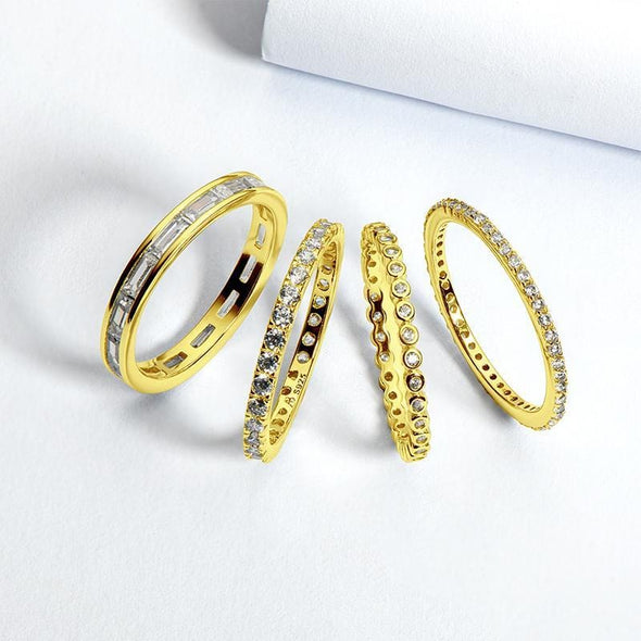 Multi Wedding Band 4PCS Full Eternity Stackable Ring Sets