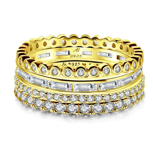 Multi Wedding Band Yellow Gold / US5 4PCS Full Eternity Stackable Ring Sets