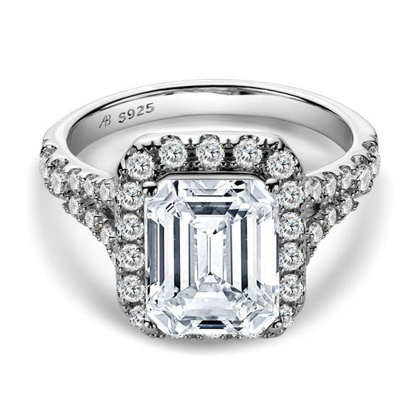 Halo Ring US4 White Emerald Cut Created Diamond Ring