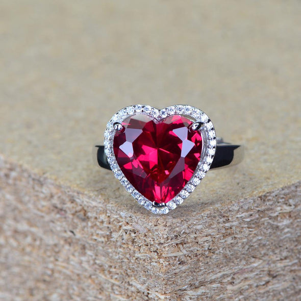 Heart Ring Red Heart Shaped Adjustable Wrap Open Ring