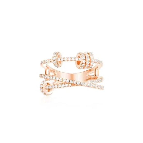 Knot Ring Rose Gold / US5 Criss Cross Created Diamond Sterling Silver Ring
