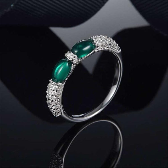 Religion Ring White Gold / Green / US5 Oval Created Diamond Green Double Candy Ring