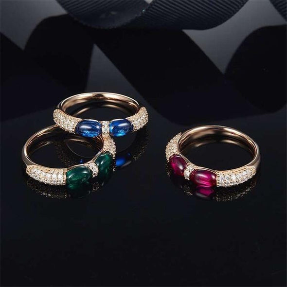 Religion Ring Rose Gold / Pink / US5 Oval Created Diamond Green Double Candy Ring