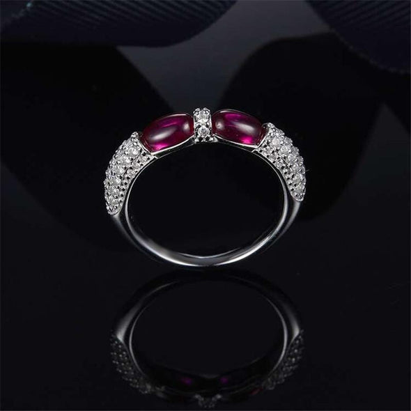 Religion Ring White Gold / Pink / US5 Oval Created Diamond Green Double Candy Ring
