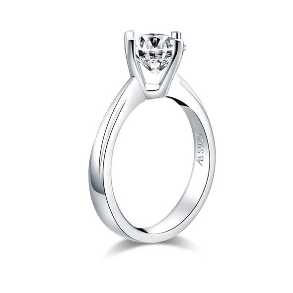 Solitaire Ring 925 Sterling Silver Round Cut Created Diamond Solitaire Ring
