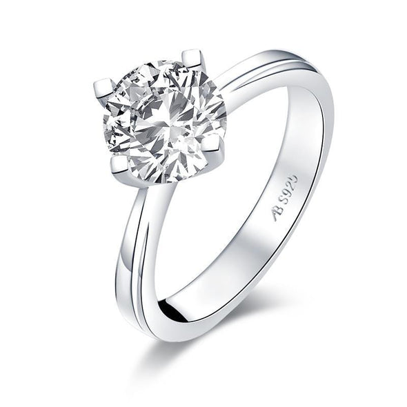 Solitaire Ring White Gold / US4 925 Sterling Silver Round Cut Created Diamond Solitaire Ring