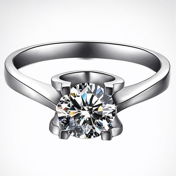 Solitaire Ring US4 Brilliant Created Diamond Round Cut Solitaire Ring