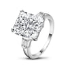 Three Stone Engagement Ring US4 Radiant Created White Diamond Bagutte Three Stone Ring