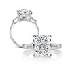 Three Stone Engagement Ring Radiant Created White Diamond Bagutte Three Stone Ring