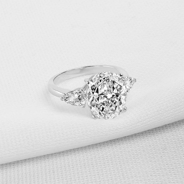 Three Stone Engagement Ring Oval Cut Three Stone Created White Diamond Ring
