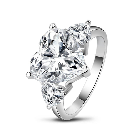 Three Stone Engagement Ring US4 Three Stone Heart Created White Diamond Trillion Ring