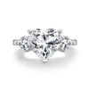 Three Stone Engagement Ring Three Stone Heart Created White Diamond Trillion Ring
