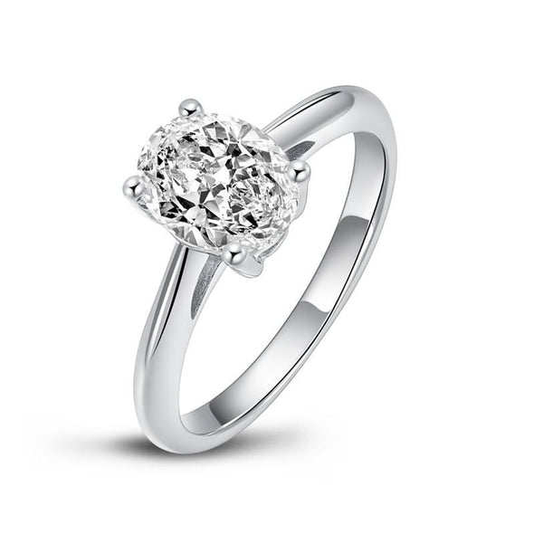 Moissanite Ring US4 Classic Oval Solitaire Moissanite Diamond Ring
