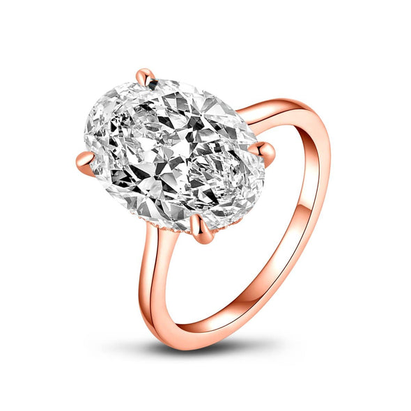 Solitaire Ring US5 Rose Gold Oval Created White Diamond Ring