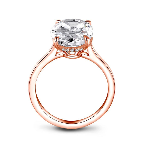 Solitaire Ring Rose Gold Oval Created White Diamond Ring