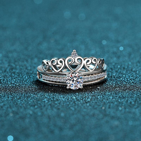 Classic Ring 925 Sterling Silver Round Cut Created Diamond Heart-shaped Crown Ring