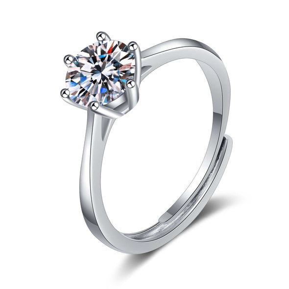 Moissanite Ring 0.30ct / Adjustable Round Cut White Moissanite Diamond Solitaire Adjustable Ring