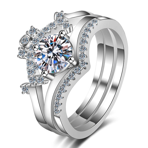 Classic Ring 925 Sterling Silver Round Cut Created Diamond Trio Ring