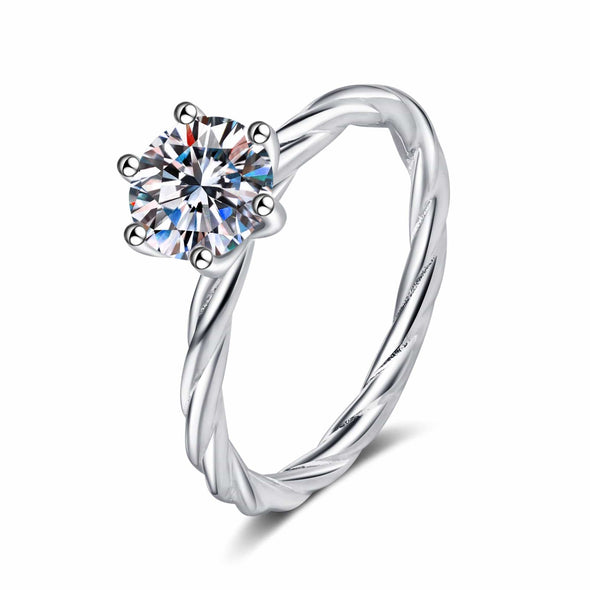 Classic Ring 4.5 925 Sterling Silver Round Cut Created Diamond Solitaire Twist Shank Ring