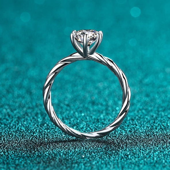 Classic Ring 925 Sterling Silver Round Cut Created Diamond Solitaire Twist Shank Ring