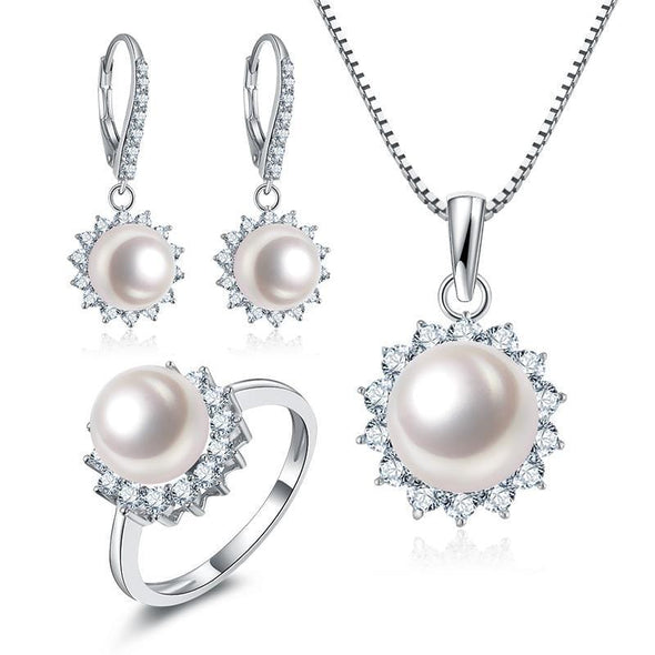 ring pendant earrings Set US4 Halo Created White Diamond Freshwater Pearl Jewelry Set