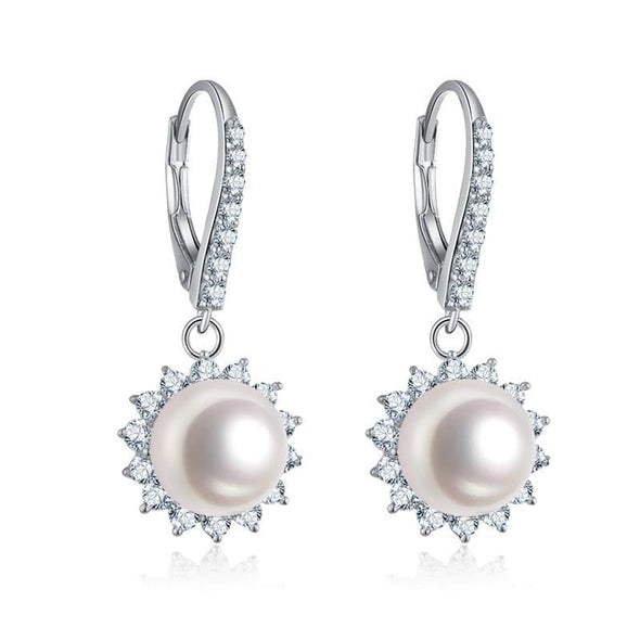 ring pendant earrings Set Halo Created White Diamond Freshwater Pearl Jewelry Set