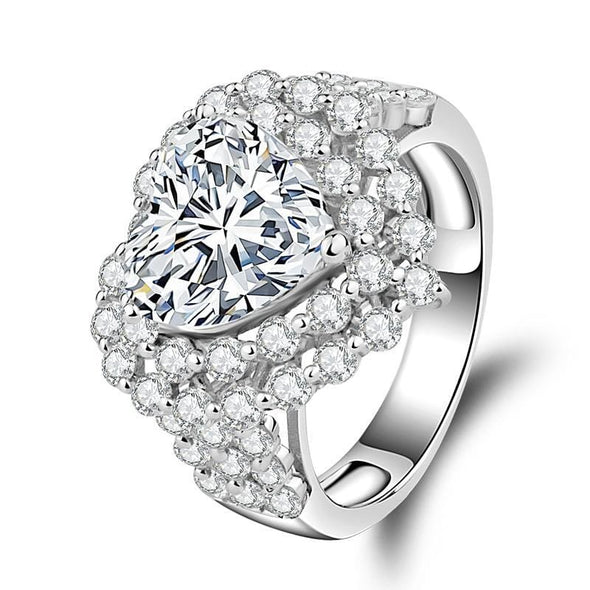 Halo Ring US4 Double Halo Heart Cut Created Diamond Ring