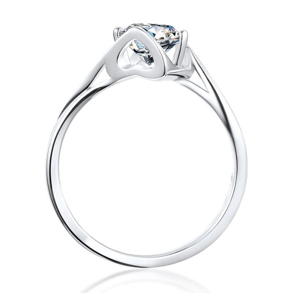 Moissanite Ring Classic Round Cut Moissanite Diamond Angle Solitaire Rings