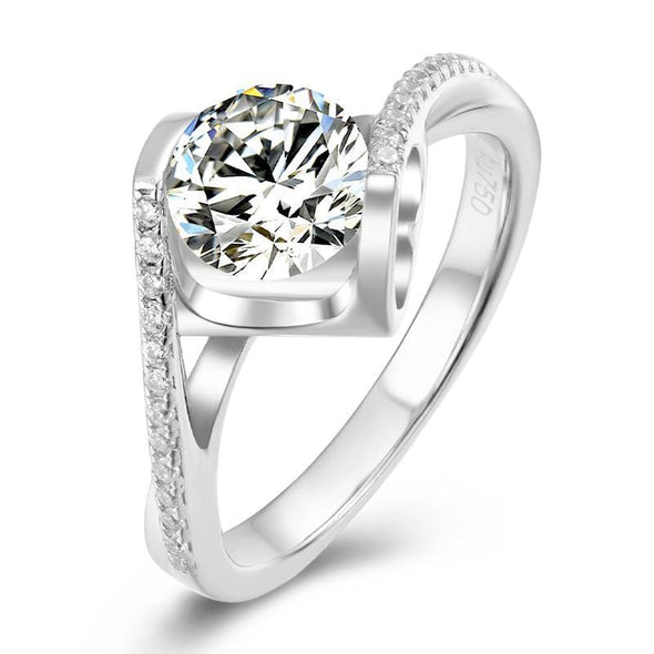 Moissanite Ring US4.5 Classic Round Cut Moissanite Diamond Angle Solitaire Ring