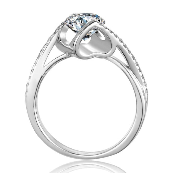 Moissanite Ring Classic Round Cut Moissanite Diamond Angle Solitaire Ring