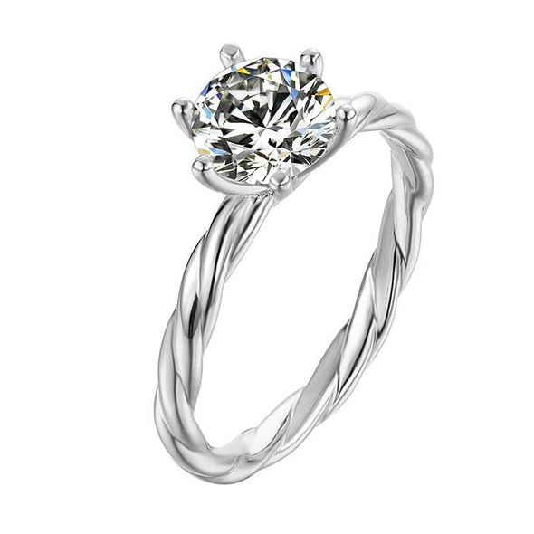 Moissanite Ring US4.5 Classic Round Cut Moissanite Diamond Vine Solitaire Ring