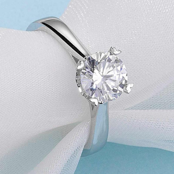 Moissanite Ring Classic Round Cut Moissanite Diamond Love Solitaire Rings