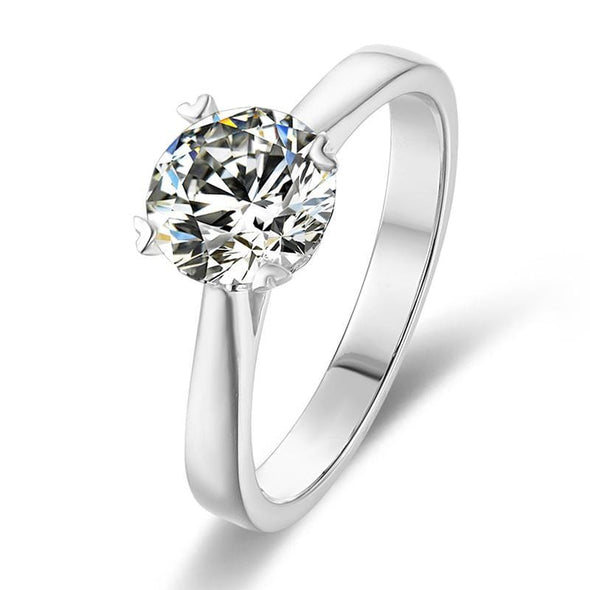 Moissanite Ring US4.5 Classic Round Cut Moissanite Diamond Love Solitaire Rings