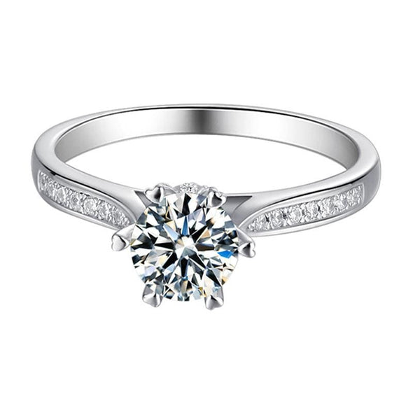 Moissanite Ring Classic Round Cut Moissanite Diamond Luck Solitaire Rings