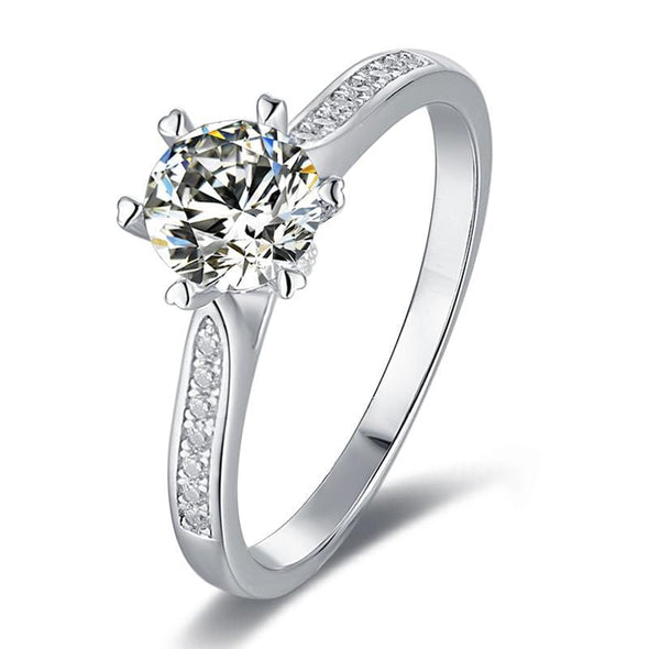 Moissanite Ring US4.5 Classic Round Cut Moissanite Diamond Luck Solitaire Rings