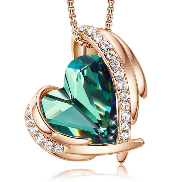 Jewelry Green & Rose Gold Angel Heart Necklace