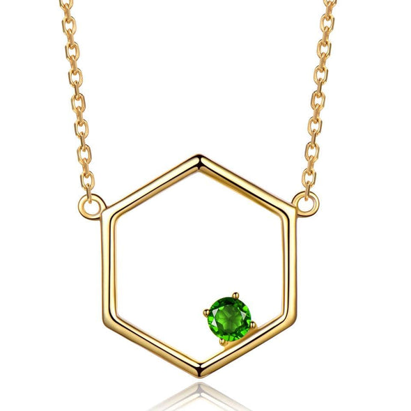 Necklaces Hexagon Peridoct Necklace
