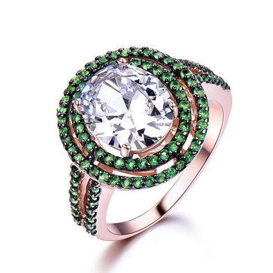 Ring 6 Zircon Inlay Emerald Ring
