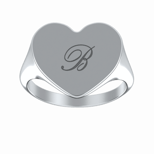 Personalize Rings 925 Sterling sliver / 5 Engraved Heart Signet Initial Ring