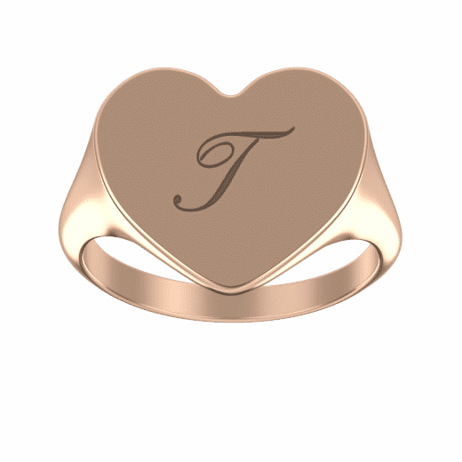 Personalize Rings 18K Rose Gold Plating / 5 Engraved Heart Signet Initial Ring