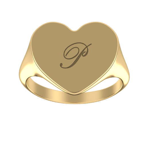Personalize Rings 18K Gold Plating / 5 Engraved Heart Signet Initial Ring