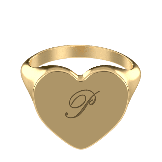 Personalize Rings Engraved Heart Signet Initial Ring