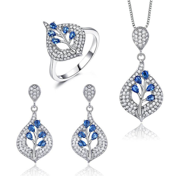 Jewelry Set 6 Silver Sapphire Jewels Set