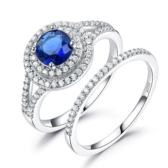 Ring 5 Sapphire Wedding Ring Set